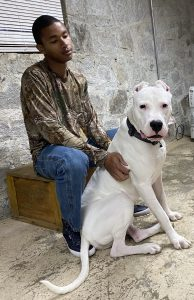 Man sitting with his dog